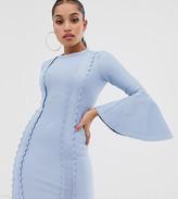 Asos DESIGN Petite flute sleeve bandage scallop detail bodycon mini dress