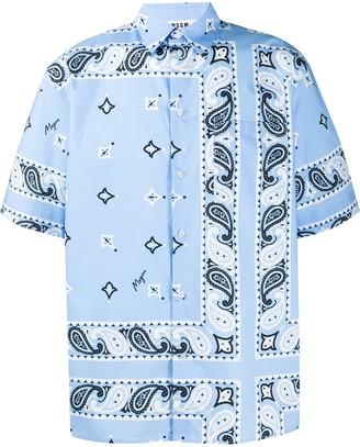 MSGM Bandana-Print Short Sleeved Boxy Shirt