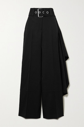 J.W.Anderson Belted Draped Wool Wide-leg Pants - Black