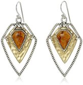 Barse Two-Tone and Orange Sponge Coral Geometric French Wire Drop Earrings