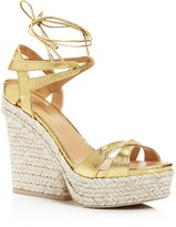 Sergio Rossi Bilbao Lace Up Platform Wedge Sandals