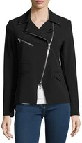 Veronica Beard Hadley Zip-Front Scuba Jacket, Black