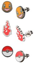 Pokemon Charmander, Fire Flame and Poké Ball Stainless Steel Stud Earrings Set