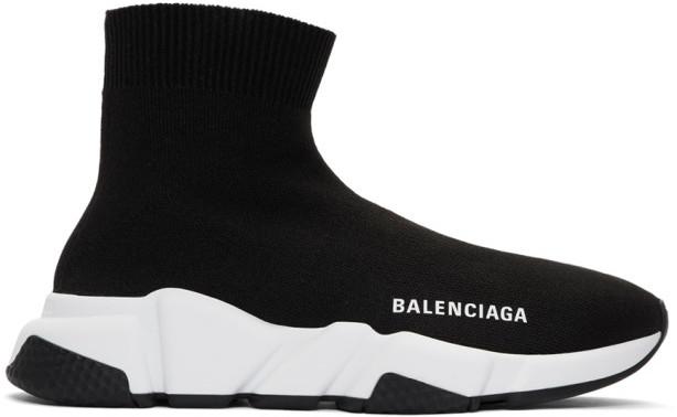 Balenciaga Black and White Speed Sneakers