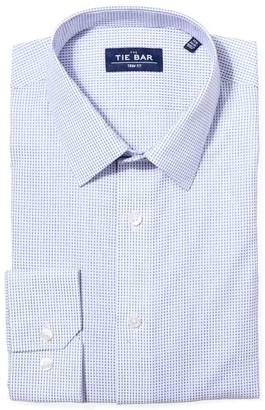 Tie Bar Rectangle Geo Blue Non-Iron Dress Shirt
