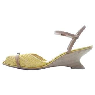 Salvatore Ferragamo Yellow Cloth Sandals