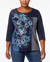 Karen Scott Plus Size Mixed Media Studded Top, Created for Macy's