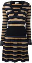 Sonia Rykiel striped V-neck dress - women - Polyester/Viscose - M