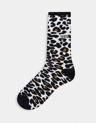Vans Crew sock in leopard print