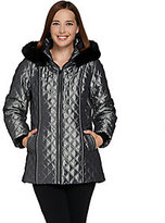 As Is Dennis Basso Quilted Zip Front Jacket w/ Hood & Faux Fur Trim