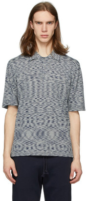 Missoni Blue Striped Henley Polo