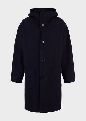 Emporio Armani Boiled Wool Coat With Hood