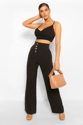 boohoo Button Front Pocket Side Longline Culottes