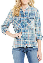 Joe's Jeans Point Collar Plaid Raw Edge Aislin Top