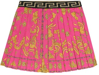 Versace Kids Printed stretch-cotton skirt
