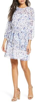 Eliza J Print Ruffle Balloon Sleeve Dress