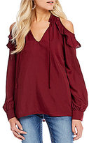 Miss Me Cold-Shoulder Ruffle Peasant Top
