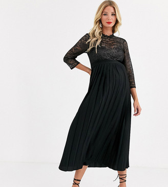 Little Mistress Maternity pleated midaxi dress with metallic lace in black