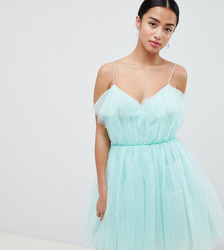 Asos DESIGN Petite mini dobby tulle prom dress with ruffle bodice-Green