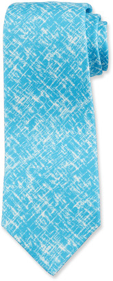 Kiton Men's Scratch-Print Silk Tie, Aqua