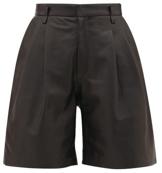 RED Valentino High-rise Leather Shorts - Womens - Black