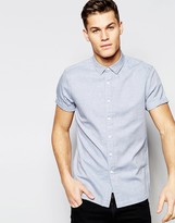 Asos Regular Fit Herringbone Shirt In Blue
