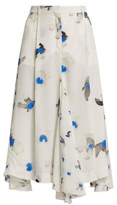 Nina Ricci Printed Silk Ruffle Skirt