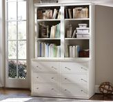 Pottery Barn Logan Bookcase with Drawers, Antique White