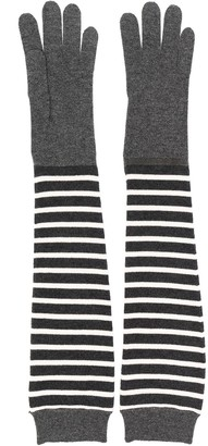 Brunello Cucinelli Long-Line Striped Gloves