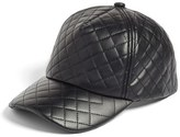 BP Women's Quilted Faux Leather Ball Cap - Black