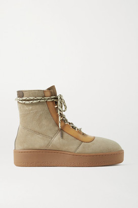 Rag & Bone Oslo Leather-trimmed Suede Platform Ankle Boots - Mushroom