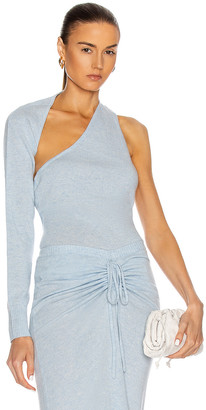 CHRISTOPHER ESBER One Shoulder Sling Knit Top in Dusty Blue Marble | FWRD