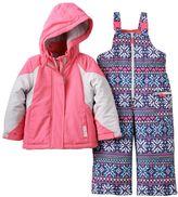 Carter's Toddler Girl Heavyweight Colorblock Jacket & Printed Bib Snow Pants Snowsuit Set