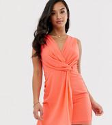 TFNC Petite Petite wrap front mini dress in coral