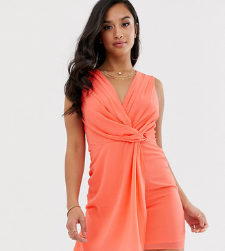 TFNC Petite wrap front mini dress in coral