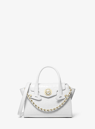 MICHAEL Michael Kors MK Carmen Extra-Small Two-Tone Crocodile-Embossed Leather Belted Satchel - Optic White - Michael Kors
