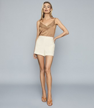 Reiss JOLIE METALLIC KNITTED CAMI TOP Blush