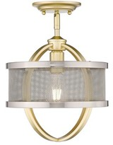 Laurèl Earlene 1 - Light Caged Drum Semi Flush Mount Foundry Modern Farmhouse Fixture Finish: Olympic Gold, Shade Color: Pewter
