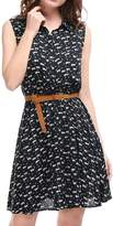 Ur-Fashion Women's Printed Half Placket Above Knee Sleeveless Belted Dress