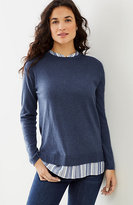 J. Jill Mixed-Media Shirttail Pullover