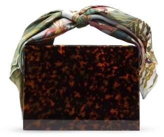 Montunas Guaria Mini Orchid-print Silk Handle Box Bag - Womens - Brown Multi
