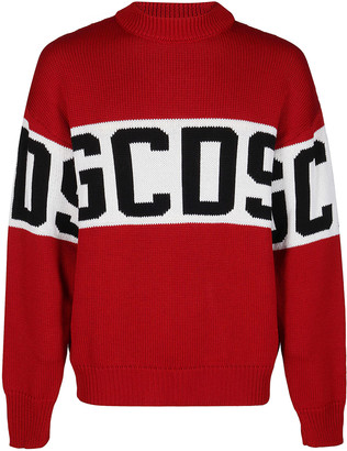 GCDS Red Wool Blend Jumper