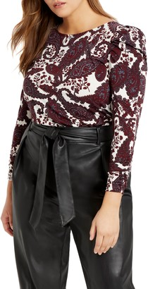 ELOQUII Paisley Ruched Sleeve Jersey Top