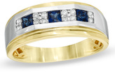 Zales Men's Princess-Cut Lab-Created Blue Sapphire and 1/5 CT. T.W. Diamond Ring in 10K Two-Tone Gold