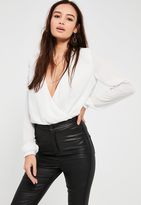 Missguided White Chain Neck Wrap Bodysuit