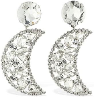 Alessandra Rich Large Crystal Moon Clip-on Earrings
