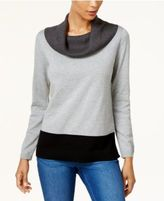 Karen Scott Cowl-Neck Colorblocked Sweater, Created for Macy's
