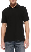 James Perse Sueded Jersey Polo Shirt, Black