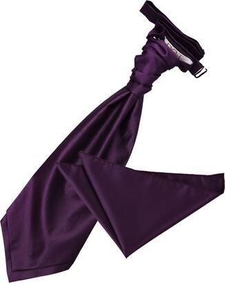 DQT Solid Check Plain Formal Wedding Scrunchie Cravat & Pocket Square Set for Men in Cadbury Purple