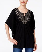 JM Collection Embellished Keyhole Poncho Top, Only at Macy's